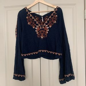 Free People Embroidered Long Sleeve Crop Top